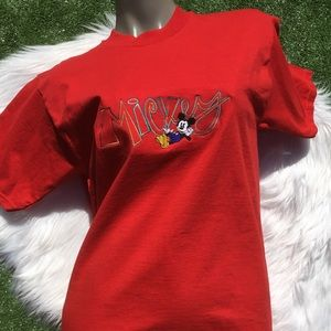 Vintage Disney Mickey Mouse 90s Red T Shirt Tee
